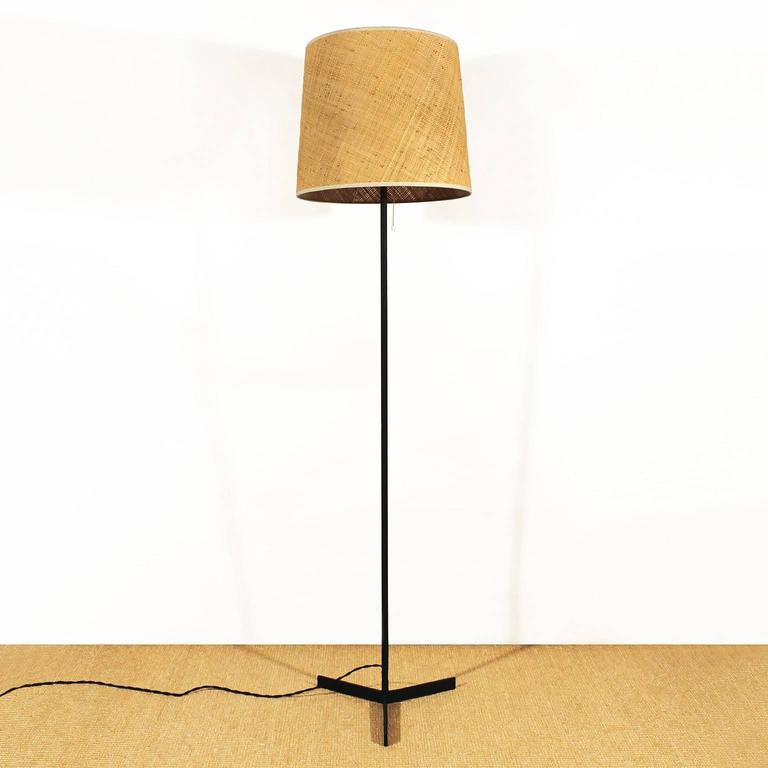 1950s minimalist standing lamp steel raffia lampshade spain at minimalist standing lamp black lacquered steel stand raffia lampshade spain circa 1950 mozeypictures Gallery