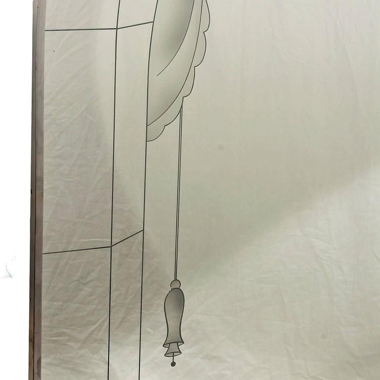 1930´s Large Art Deco Mirror, engraved decoration, chrome-plated brass - italy In Good Condition For Sale In Girona, ES