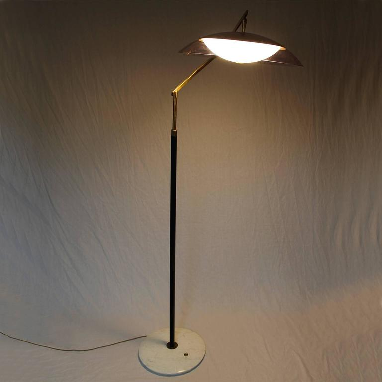 1960 S Standing Lamp By Stilux Marble Steel Brass Perspex Lampshade Italy