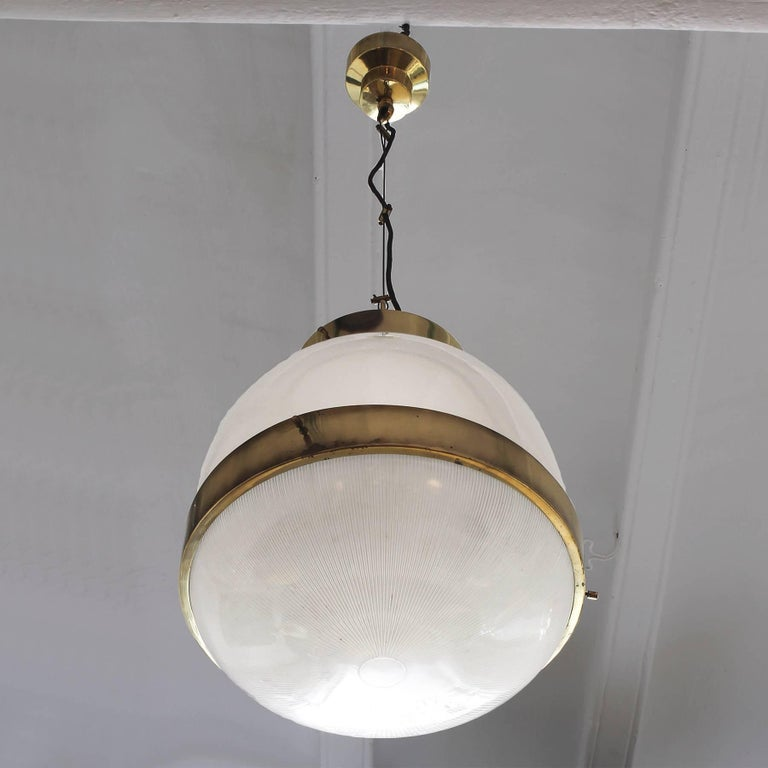 Italian 1960´s Large Delta Lantern by Sergio Mazza for Artemide, brass, glass - Italy