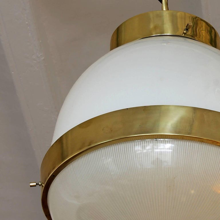 Pressed 1960´s Large Delta Lantern by Sergio Mazza for Artemide, brass, glass - Italy