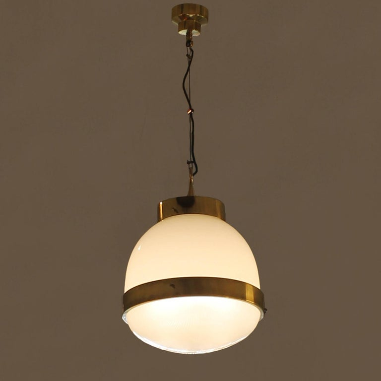 1960´s Large Delta Lantern by Sergio Mazza for Artemide, brass, glass - Italy In Excellent Condition In Girona, ES