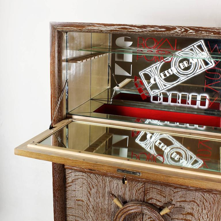 1940´s Dry Bar by Audoux, Minet, cerused oak, rudder handles, mirrors - France In Good Condition For Sale In Barcelona, ES