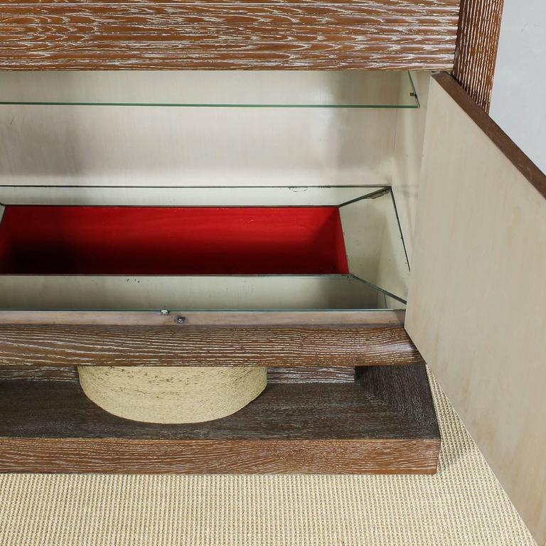 Oak 1940´s Dry Bar by Audoux, Minet, cerused oak, rudder handles, mirrors - France For Sale