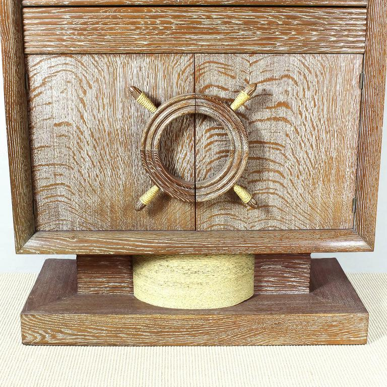 1940´s Dry Bar by Audoux, Minet, cerused oak, rudder handles, mirrors - France For Sale 2