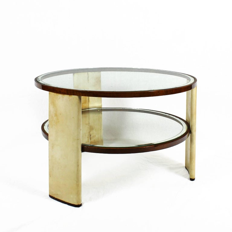 Italian 1930s Art Deco Side Table, parchment and walnut, mirrored glass. Italy For Sale