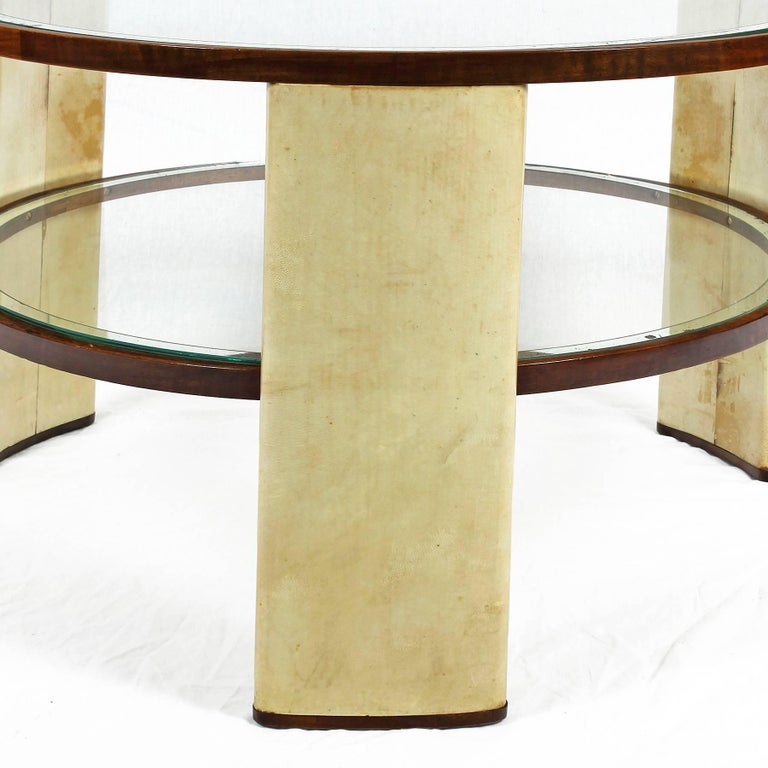 Mid-20th Century 1930s Art Deco Side Table, parchment and walnut, mirrored glass. Italy For Sale
