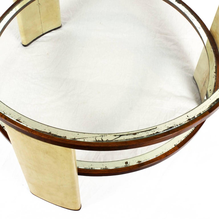 Glass 1930s Art Deco Side Table, parchment and walnut, mirrored glass. Italy For Sale