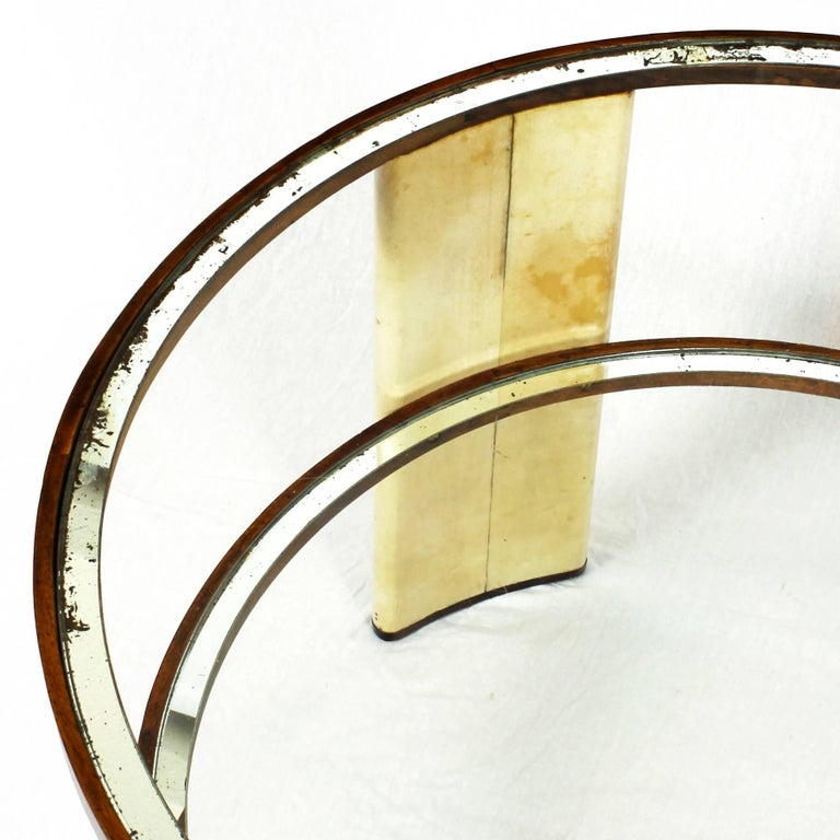 1930s Art Deco Side Table, parchment and walnut, mirrored glass. Italy For Sale 1