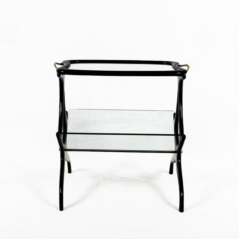 Mid-Century Modern 1950s Table Magazine Rack by Cesare Lacca, stained beech and glass. Italy For Sale