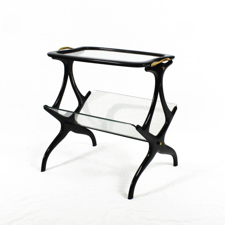 Italian 1950s Table Magazine Rack by Cesare Lacca, stained beech and glass. Italy For Sale