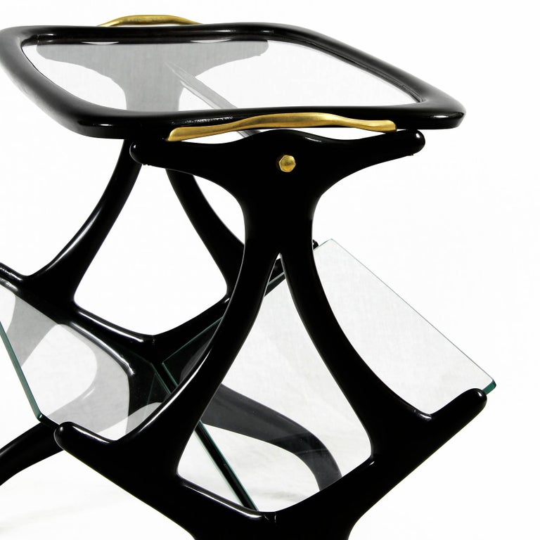 Mid-20th Century 1950s Table Magazine Rack by Cesare Lacca, stained beech and glass. Italy For Sale