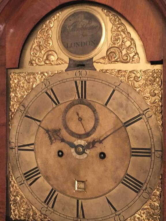 George III English Grandfather Walnut Clock, 18th Century  For Sale