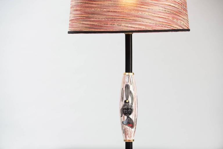 Floor lamp with painted ceramics, brass and black painted metal, new fabric shade.