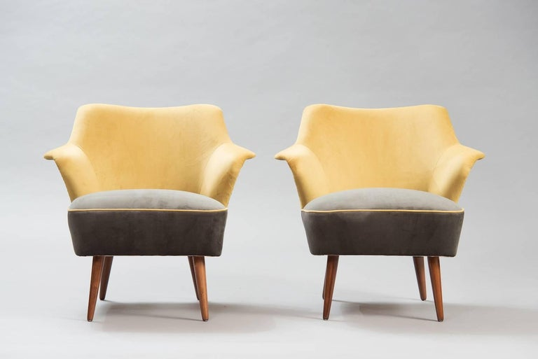 Pair of armchairs reupholstered in yellow and grey velvet.
