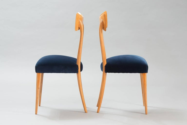 Varnished Italian Dining Chairs in the Style of Ico Parisi, Set of Six For Sale