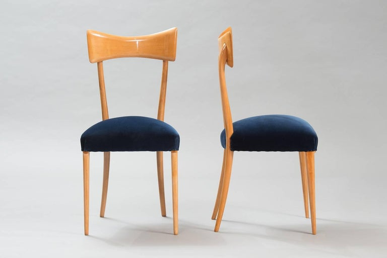 Mid-Century Modern Italian Dining Chairs in the Style of Ico Parisi, Set of Six For Sale