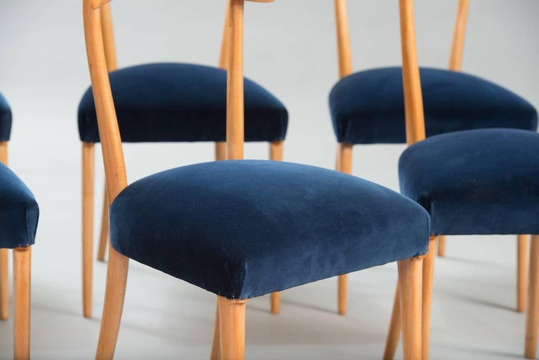 Velvet Italian Dining Chairs in the Style of Ico Parisi, Set of Six For Sale