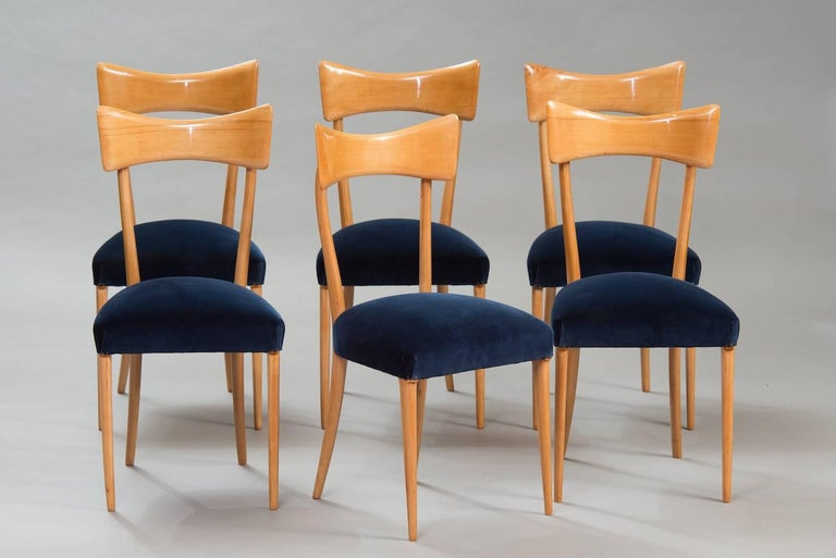 Italian Dining Chairs in the Style of Ico Parisi, Set of Six In Excellent Condition For Sale In Porto, PT