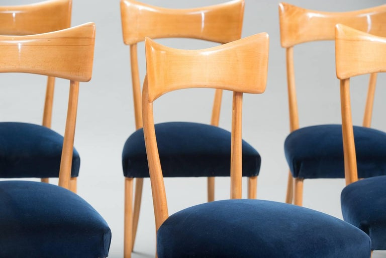 Mid-20th Century Italian Dining Chairs in the Style of Ico Parisi, Set of Six For Sale