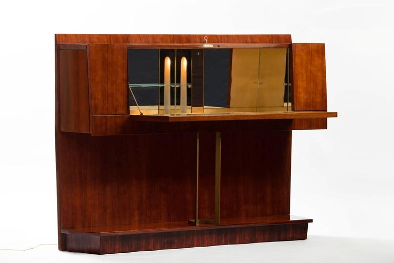 Rosewood bar cabinet with lighting inside and illustration at the door, central support in massive brass.