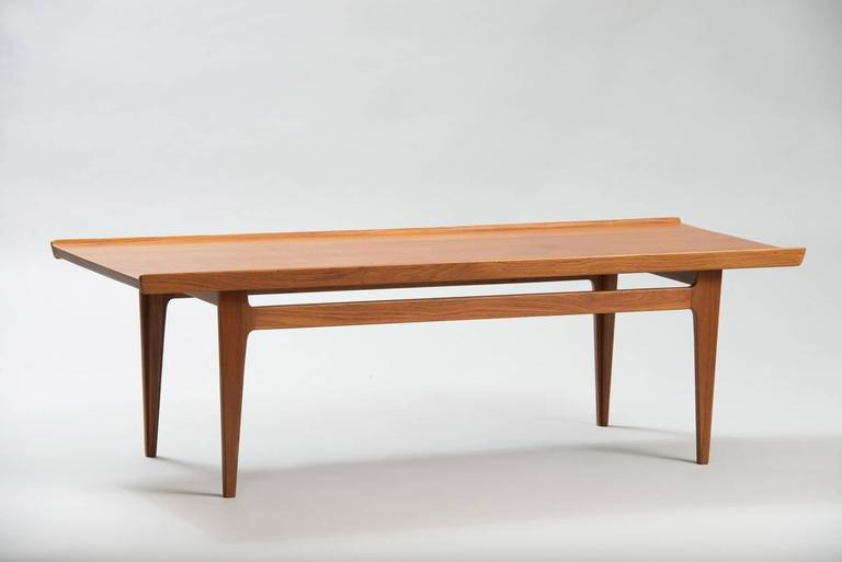 Teak Coffee Table With Upturned Edges And Tapered Legs Producer France Daverkosen