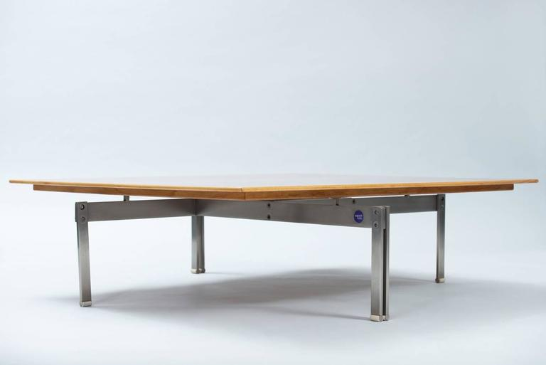 """""""Onda"""" coffee table, stainless brushed steel, plastic and wood. Producer: Saporiti."""