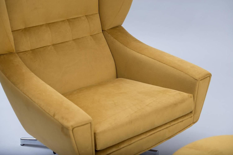 danish swivel chair with ottoman at 1stdibs
