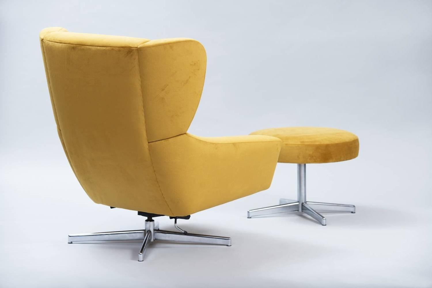 Danish Swivel Chair With Ottoman At 1stdibs