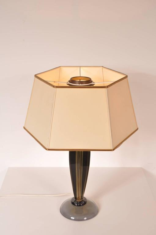 Unique table lamp designed by Flavio Poli for Seguso, Italy, circa 1960.