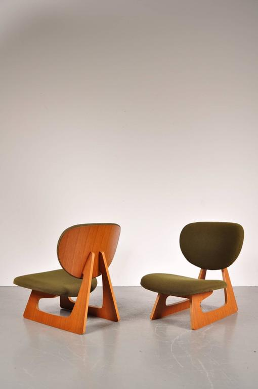 Stunning Pair Of Teiza Chairs Designed By Daisaku Choh, Manufactured By  Tendo In Japan,