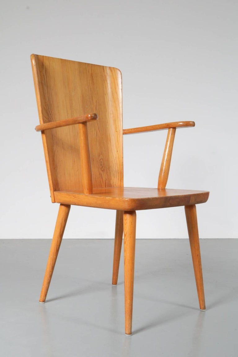 A beautiful chair model 510 with armrests, designed by Goran Malmvall for Karl Andersson & Son, made in Denmark, circa 1930-1940.