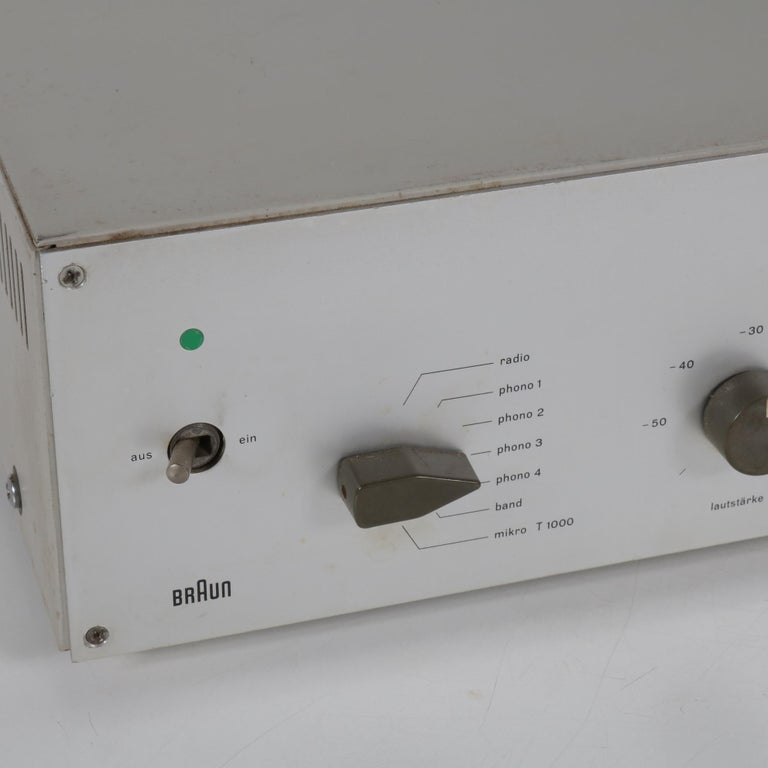 A rare vintage CSV 60/1 tube amplifier designed by Dieter Rams, manufactured by Braun in Germany around 1960.