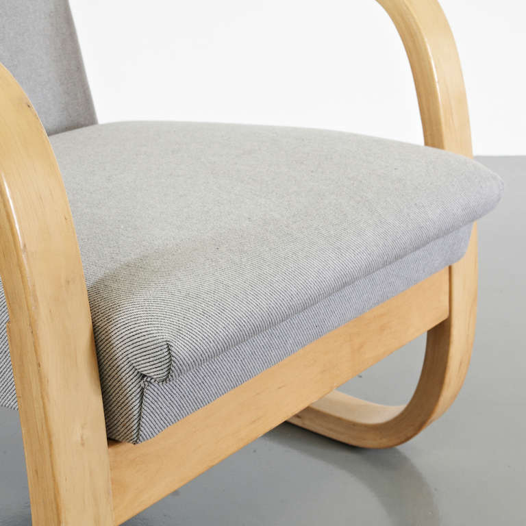 Upholstery Alvar Aalto Wingback Lounge Chair, circa 1950 For Sale
