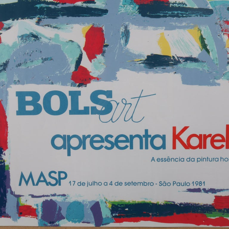 Mid-Century Modern Karel Appel Lithograph for the Bols Art Exhibition, Brazil 1981 For Sale
