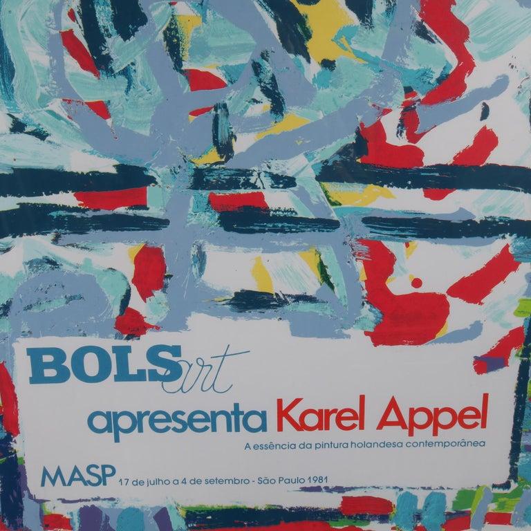 Dutch Karel Appel Lithograph for the Bols Art Exhibition, Brazil 1981 For Sale