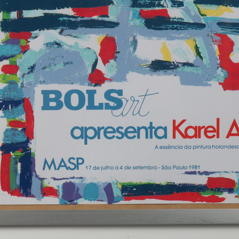 A rare Karel Appel Lithograph made for the Bols Art Exhibition in Rio de Janeiro, Brazil, 1981.  The exhibition that this was made for the occasion of Appel's 60th birthiday, and travelled to Brazil, Spain and Portugal after the start in the
