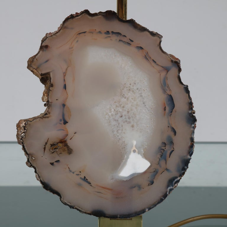 Mid-Century Modern Agate Table Lamp in the Manner of Willy Daro, circa 1970 For Sale