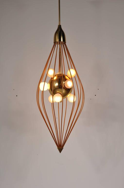 Brass Ceiling Lamp in the Style of Angelo Lelli, Arredoluce, circa 1950 For Sale