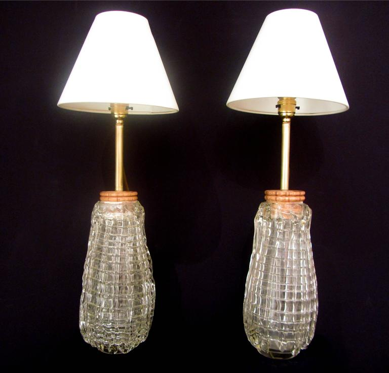 pair of unusual glass lamps for sale at 1stdibs. Black Bedroom Furniture Sets. Home Design Ideas