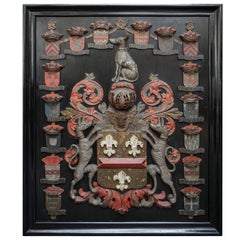 18th Century Large Carved Polychrome Dutch 'Hacfort' Heraldic Shield