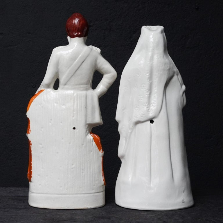 English Large Victorian Staffordshire Figurines of Queen Victoria and Prince Albert For Sale