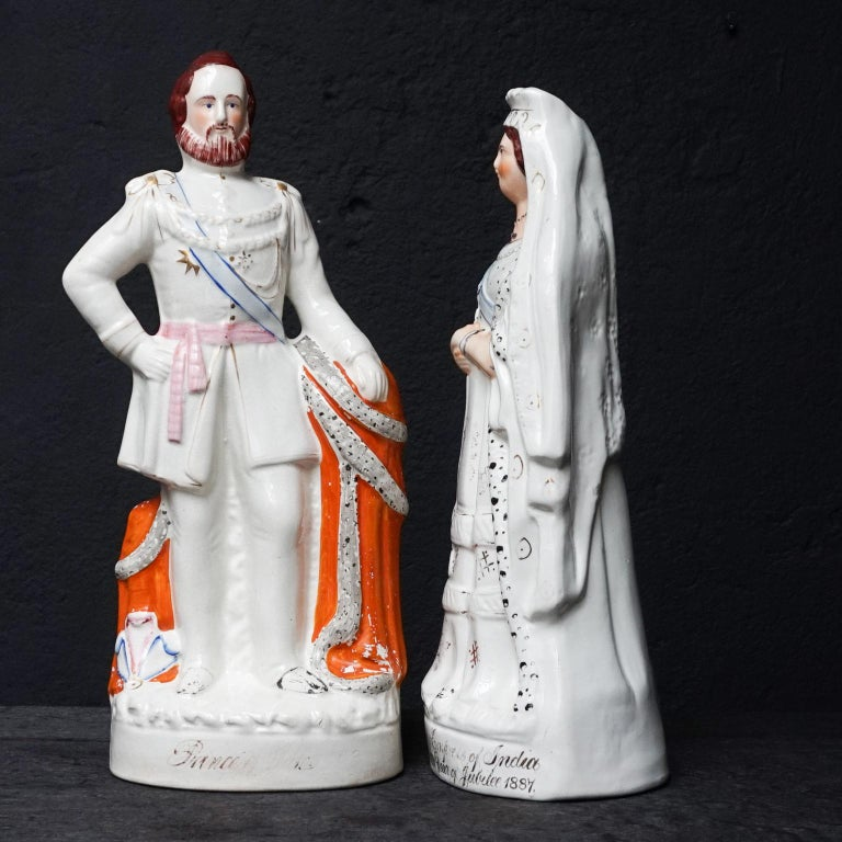 19th Century Large Victorian Staffordshire Figurines of Queen Victoria and Prince Albert For Sale