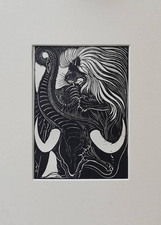 20th Century Collection of Five Art Deco Woodprints by Jan Schonk For Sale