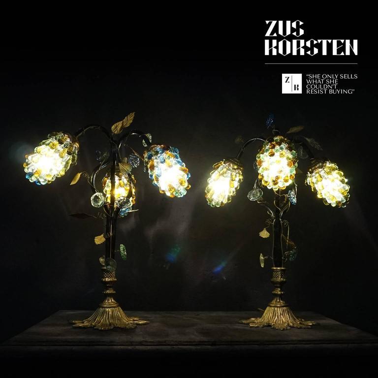 Set of art nouveau italian table lamp shades with three large glass set of art nouveau italian table lamp shades with three large glass grapes in good condition aloadofball Images