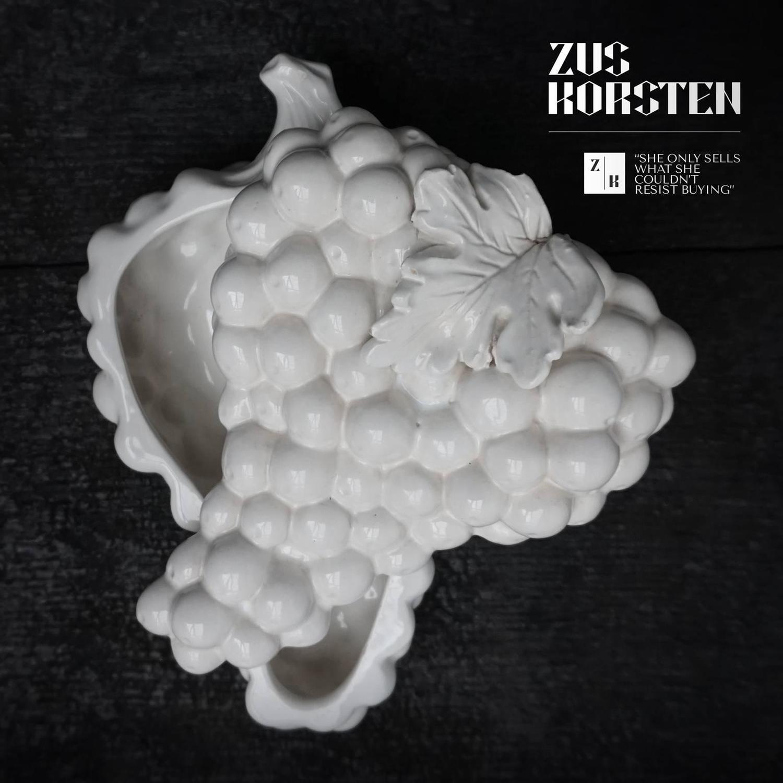 Delfts White Lidded Ceramic Grape Bowl For Sale At 1stdibs