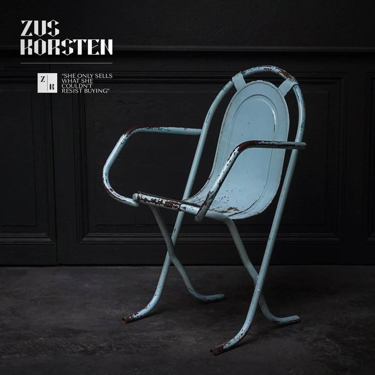 1950s Stackable Metal Chair Featuring A Rounded Seat In The Most Beautiful  Color Turquoise. This
