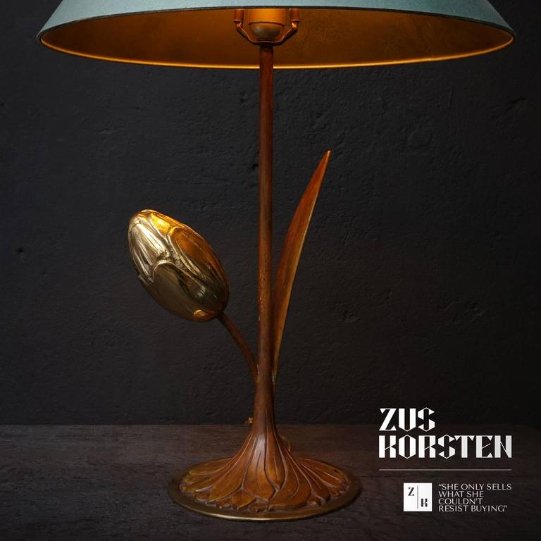 1970s Brass Tulip Table Lamp For Sale 1