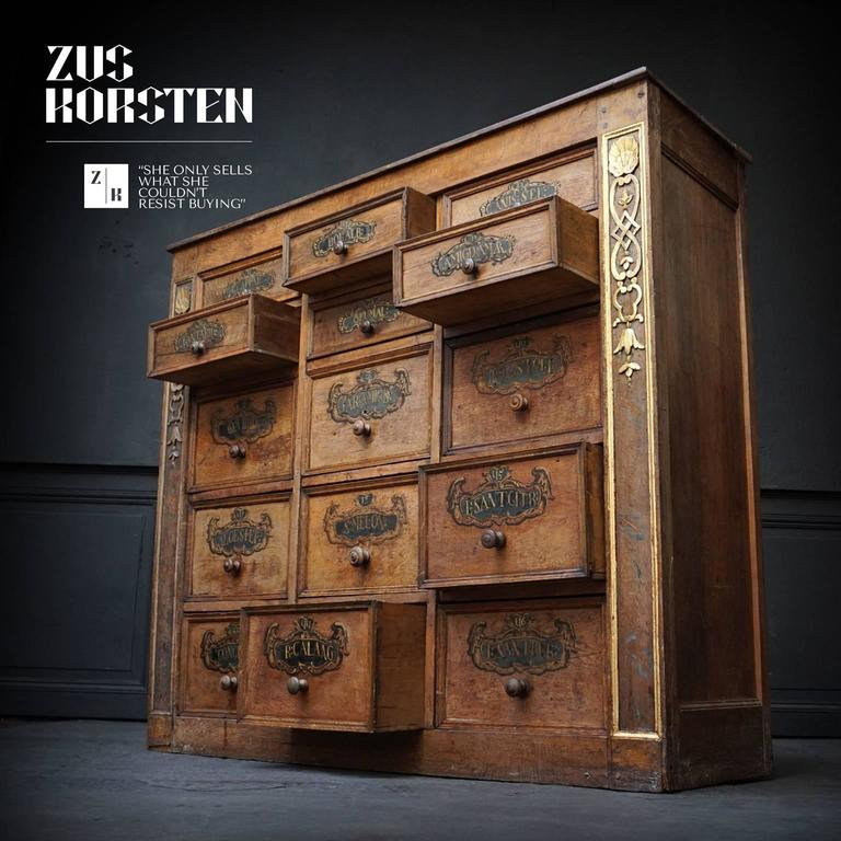 18th Century Walnut Apothecary Spices Cabinet With 24 Hand