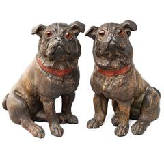 Set of 19th Century Austrian Terracotta Pug Dogs